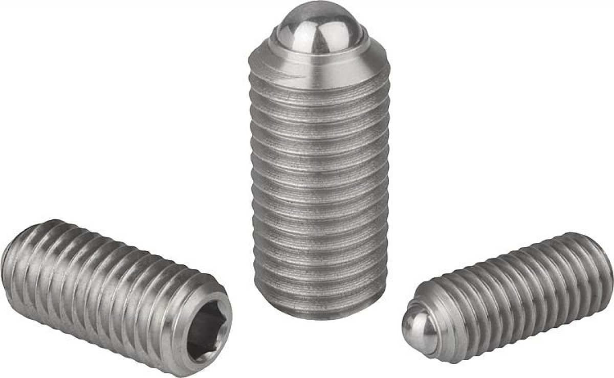 Spring plungers with hexagon socket and ball, stainless steel - 03035