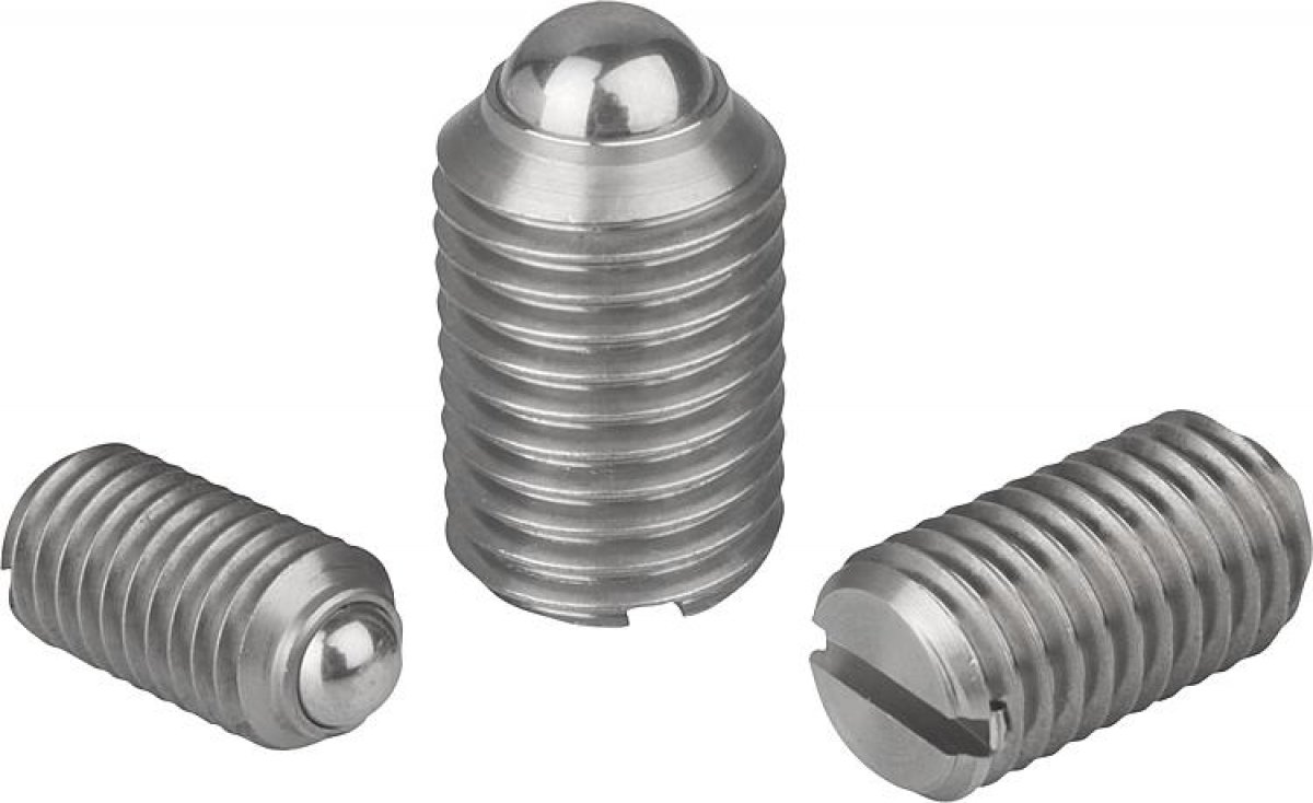 Spring plungers with slot and ball, stainless steel